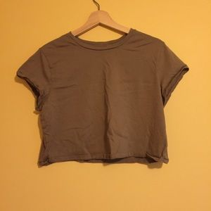 Wild Fable Army Green Cropped T-shirt